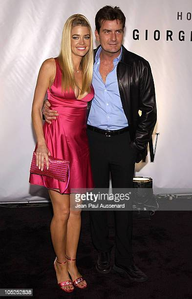 Denise Richards and Charlie Sheen during Giorgio Armani Receives First 'Rodeo Drive Walk Of Style' Award at Rodeo Drive in Beverly Hills California...