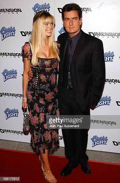 Denise Richards and Charlie Sheen during 'Scary Movie 3' Premiere Arrivals at AMC Theatres Avco Cinema in Westwood California United States