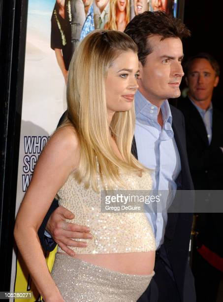 Denise Richards and Charlie Sheen during 'The Big Bounce' Premiere at Mann Village Theatre in Westwood California United States