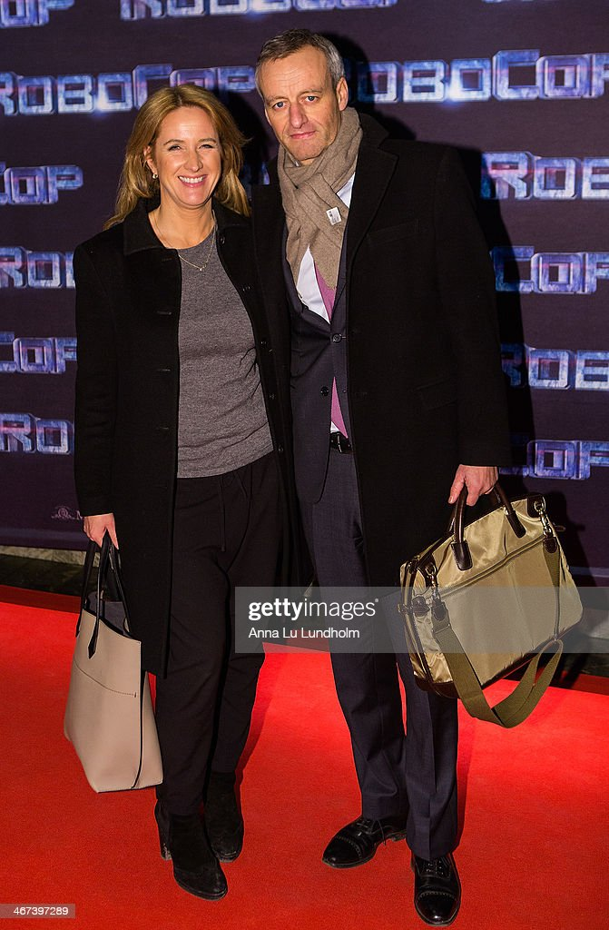 Denise Rudberg with friend attends the Stockholm premiere of 'Robocop' at Rigoletto on February 6, 2014 in Stockholm, Sweden.