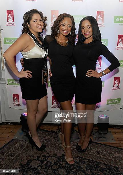 Denise Sanchez and actors Tyra Colar and Crystal Colar attend the 56th GRAMMY Awards PE Wing Event Honoring Neil Young at The Village Recording...
