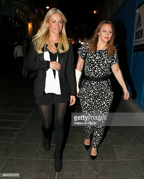 Denise Van Outen and Kimberley Walsh spotted leaving Rob Beckett stand up comedy show at Leicester Square Theatre on April 12 2014 in London England