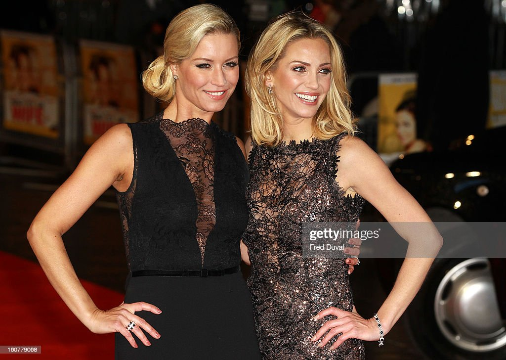 Denise van Outen and <a gi-track='captionPersonalityLinkClicked' href=/galleries/search?phrase=Sarah+Harding&family=editorial&specificpeople=202916 ng-click='$event.stopPropagation()'>Sarah Harding</a> attend the premiere of 'Run For Your Wife' at Odeon Leicester Square on February 5, 2013 in London, England.