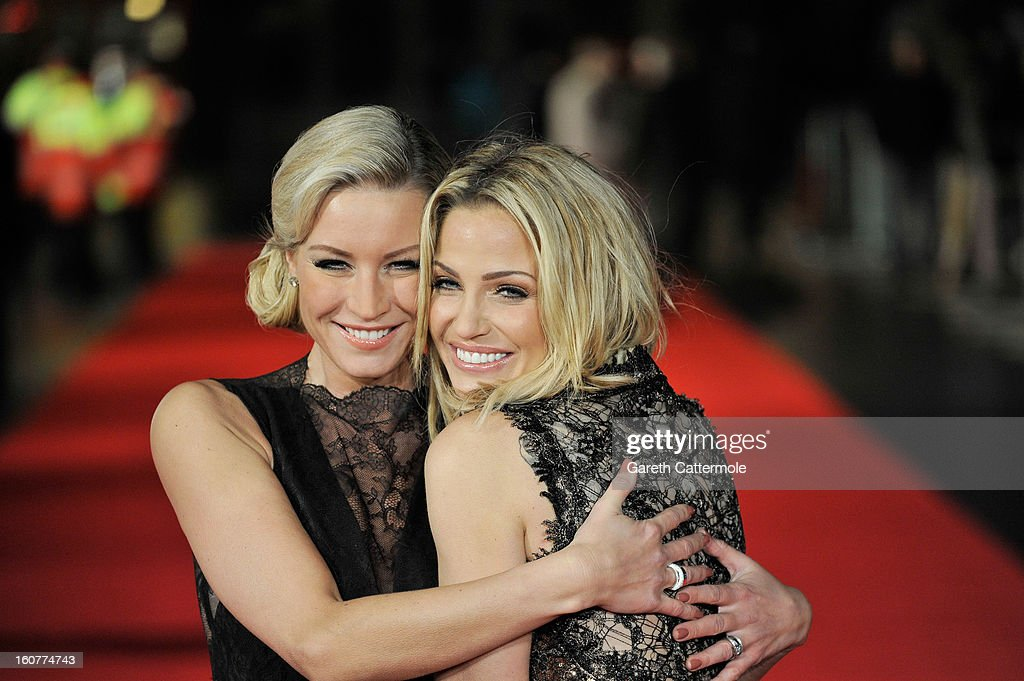 Denise van Outen and <a gi-track='captionPersonalityLinkClicked' href=/galleries/search?phrase=Sarah+Harding&family=editorial&specificpeople=202916 ng-click='$event.stopPropagation()'>Sarah Harding</a> attend the UK Premiere of 'Run For Your Wife' at Odeon Leicester Square on February 5, 2013 in London, England.