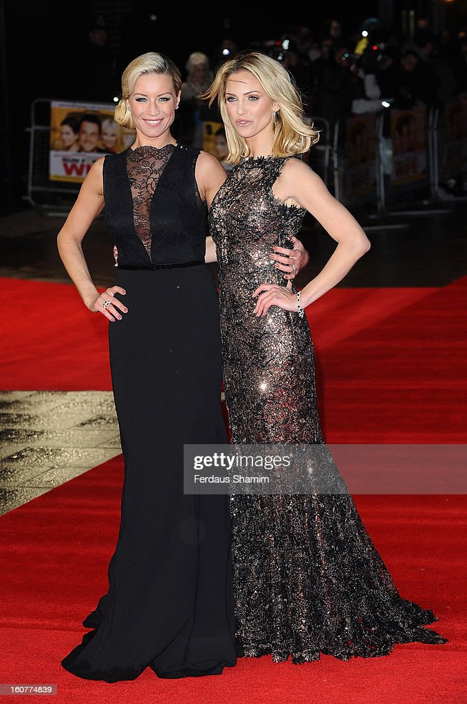 Denise van Outen and Sarah Harding attend the UK Premiere of 'Run For Your Wife' at Odeon Leicester Square on February 5, 2013 in London, England.