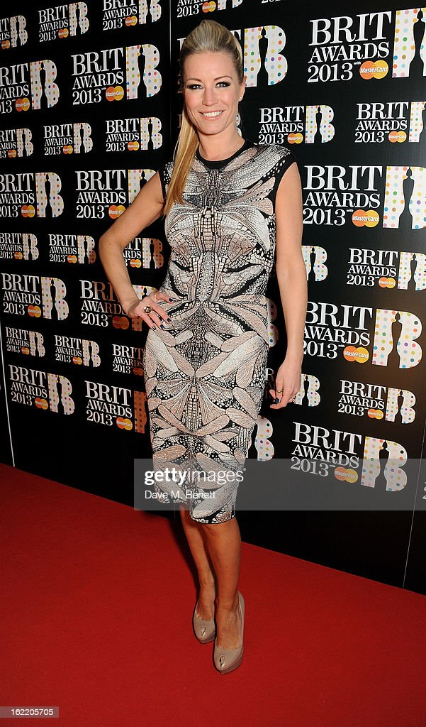 Denise van Outen arrives at the BRIT Awards 2013 at the O2 Arena on February 20, 2013 in London, England.