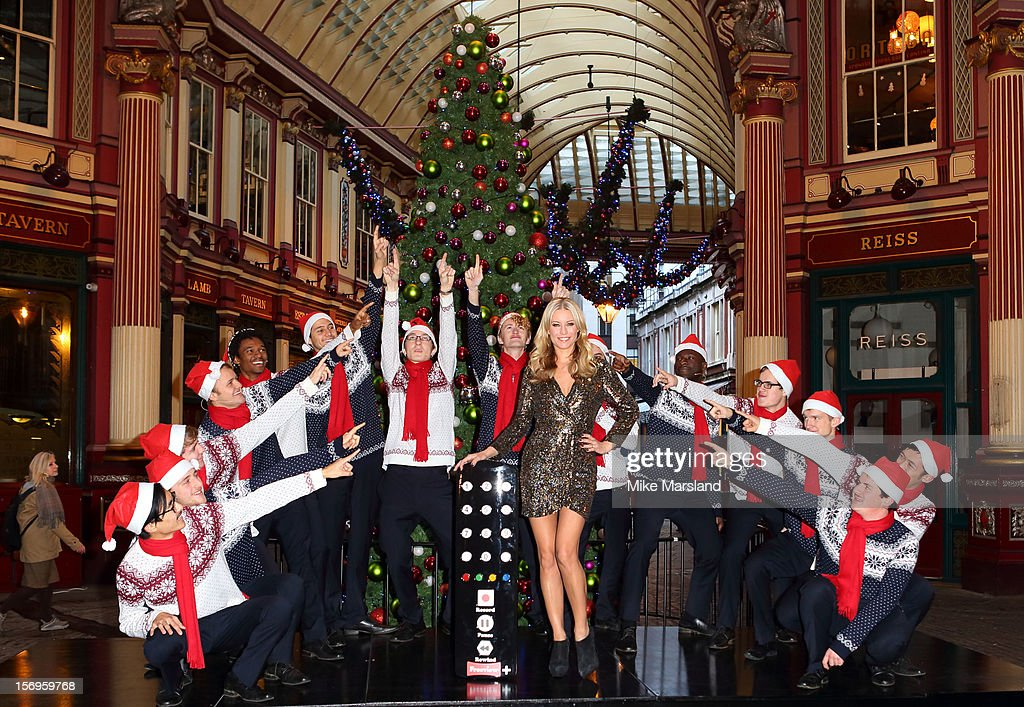 Denise Van Outen attends a photocall to promote Freeview+ live pausing and rewinding service at Leadenhall Market on November 26, 2012 in London, England.