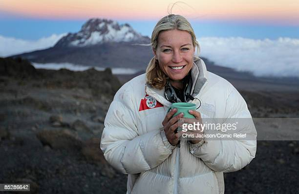 Denise Van Outen drinks a hot chocolate on the seventh day of The BT Red Nose Climb of Kilimanjaro on March 7 2009 in Arusha Tanzania Celebrities...