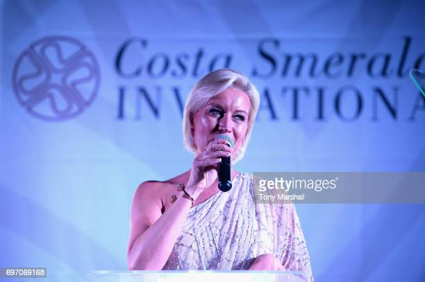 Denise Van Outen holds a speech during The Costa Smeralda Invitational Gala Dinner at Cala di Volpe Hotel Costa Smeralda on June 17 2017 in Olbia...