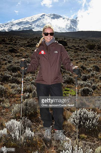 Denise Van Outen poses for a photograph on the third day of The BT Red Nose Climb of Kilimanjaro on March 4 2009 in Arusha Tanzania Celebrities Ronan...