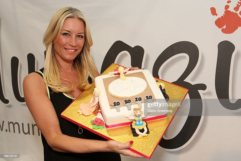 Denise van Outen poses with her 'Strictly Come Dancing' birthday cake as she celebrates joining 'Mumazine' as a celebrity contributor at Alexandra Palace on May 18, 2013 in London, England. Mumazine is an online magazine with features by and about celebrity mums and offering parenting, fashion and nutrition advice.