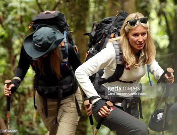 Denise Van Outen treks up Kilimanjaro on the first day of The BT Red Nose Climb of Kilimanjaro on March 1 2009 in Arusha Tanzania Celebrities Ronan...