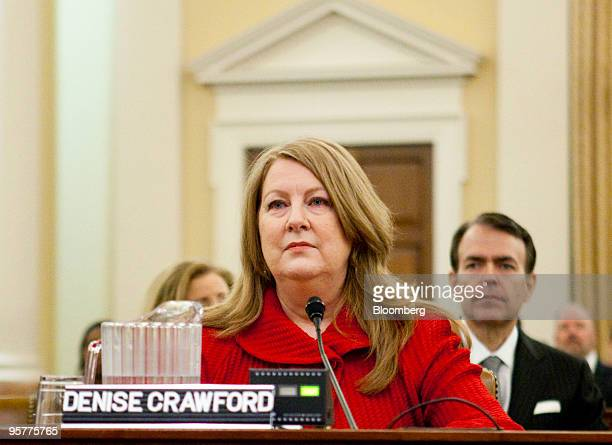 Denise Voigt Crawford commissioner for the Texas Securities Board and president of the North American Securities Administrators Association testifies...