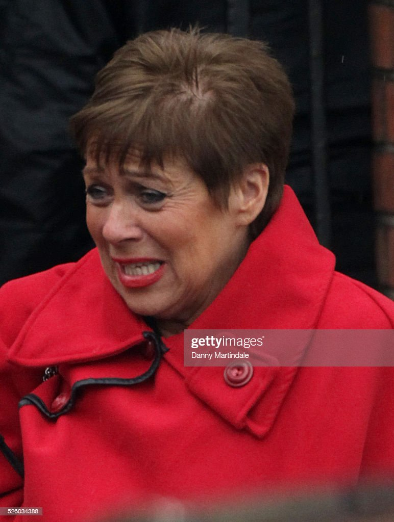 Denise Welch attends the funeral of entertainer, producer and reality television star David Gest at Golders Green Crematorium on April 29, 2016 in London, England.