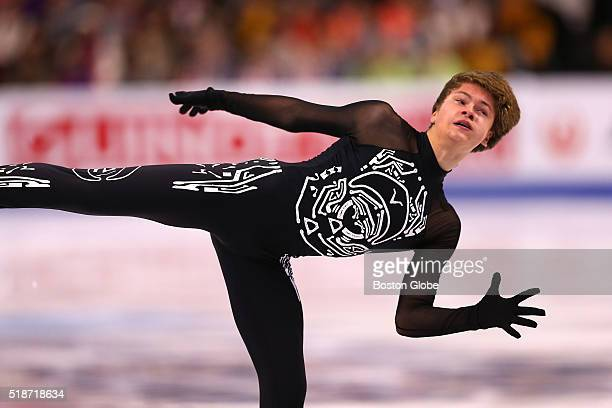 Deniss Vasiljevs from Latvia performs during the Mens Free Skate Program competition of the World Figure Skating Championships at TD Garden in Boston...