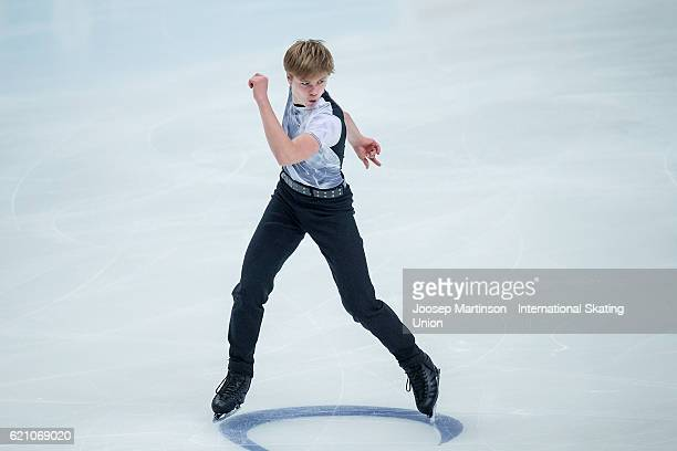 Deniss Vasiljevs of Latvia competes during Men's Short Dance on day one of the Rostelecom Cup ISU Grand Prix of Figure Skating at Megasport Ice...