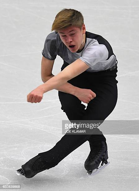 Deniss Vasiljevs of Latvia competes during the men's short program competition of the European Figure Skating Championship in Ostrava Czech Republic...