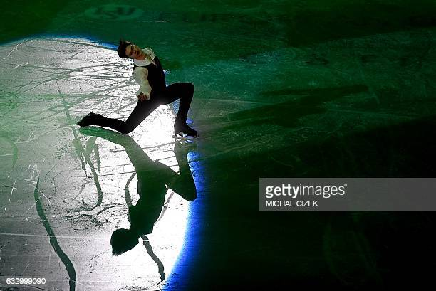 Deniss Vasiljevs of Latvia performs during the gala exhibition of the European Figure Skating Championship in Ostrava Czech Republic on January 29...