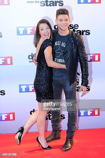 Denitsa Ikonomova and Rayane Bensetti attend the 'Danse Avec Les Stars 2014' Photocall at TF1 on September 10 2014 in Paris France