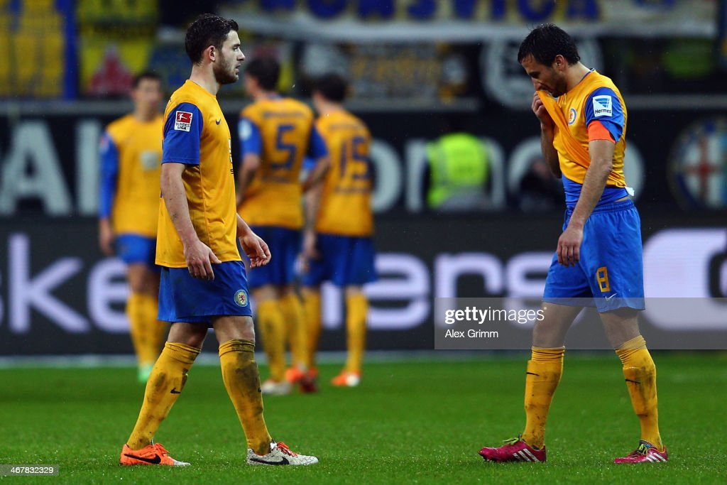 Deniz Dogan and team mates react after the Bundesliga match between Eintracht Frankfurt and Eintracht Braunschweig at Commerzbank Arena on February 8...