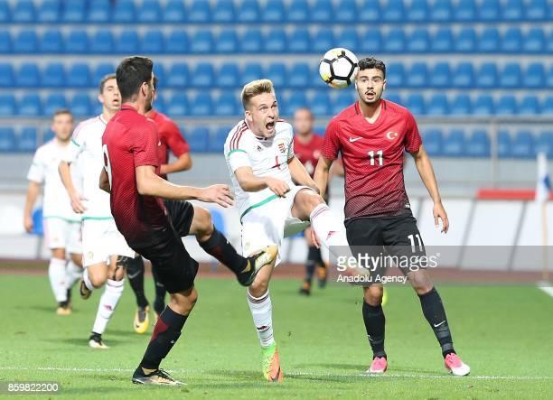 Deniz Hümmet of Turkey in action against Bence Lenser of Hungary during the 2017 UEFA European Under21 Championship qualification Group 6 football...