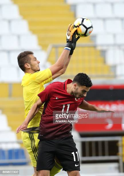 Deniz Hummet of Turkey in action against Patrik Demjen of Hungary during the 2017 UEFA European Under21 Championship qualification Group 6 football...