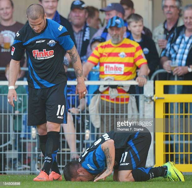 Deniz Naki of Paderborn celebrates his first goal with Deniz Yilmaz of Paderborn during the Second Bundesliga match between SC Paderborn and FC St...