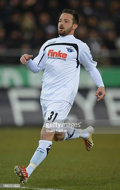 Deniz Naki of Paderborn in action during the second Bundesliga match between FC St Pauli and SC Paderborn 07 at Millerntor Stadium on April 1 2013 in...