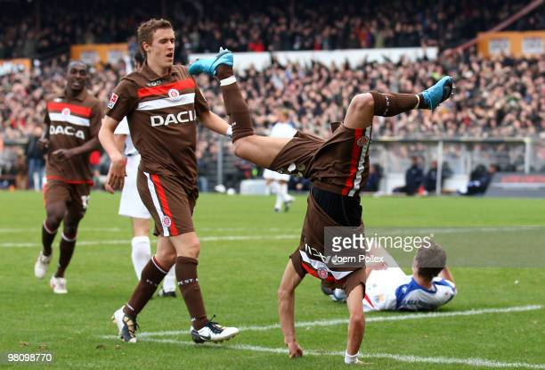 Deniz Naki of St Pauli celebrates after scoring his team's second goal during the Second Bundesliga match between FC St Pauli and Hansa Rostock at...