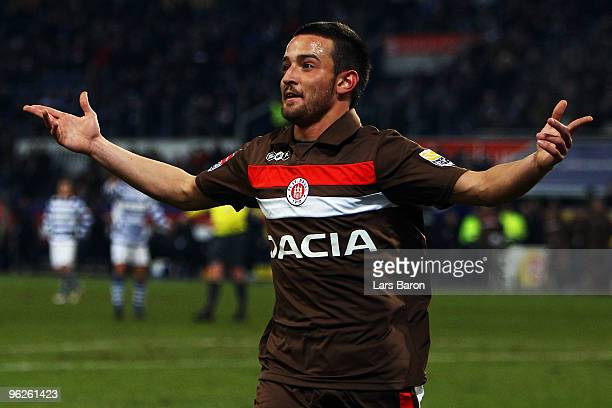 Deniz Naki of St Pauli celebrates after scoring the second goal during the Second Bundesliga match between MSV Duisburg and FC St Pauli at MSV Arena...