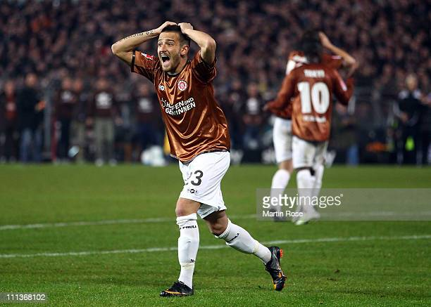 Deniz Naki of St Pauli reacts during the Bundesliga match between FC St Pauli and FC Schalke 04 at Millerntor Stadium on April 01 2011 in Hamburg...