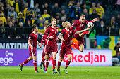 Denmark 19 Nicolai Jørgensen celebrates scoring durring a European Qualifier PlayOff between Sweden and Denmark on November 14 2015 in Solna Sweden