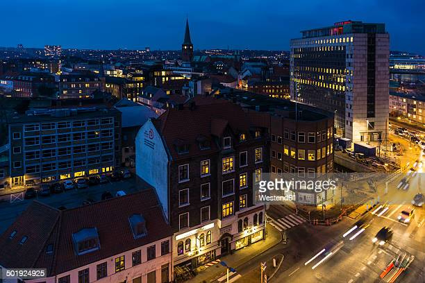 Denmark, Aarhus, view to city center at blue hour, view from above