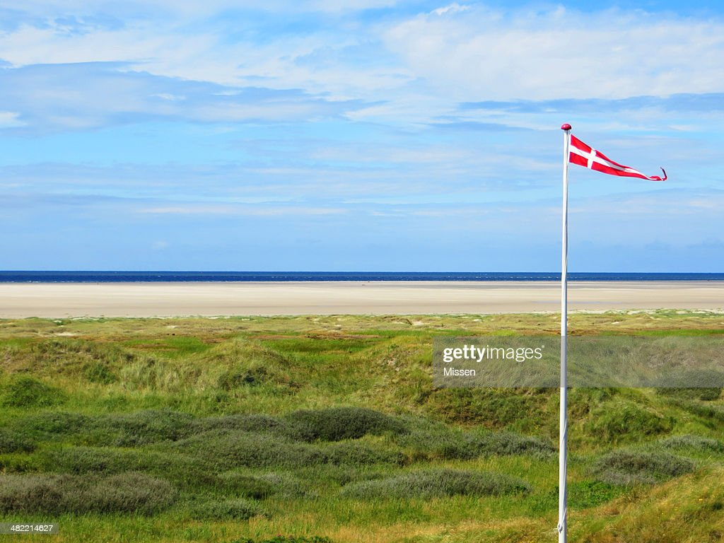 denmark beach with danish flag stock photo getty images