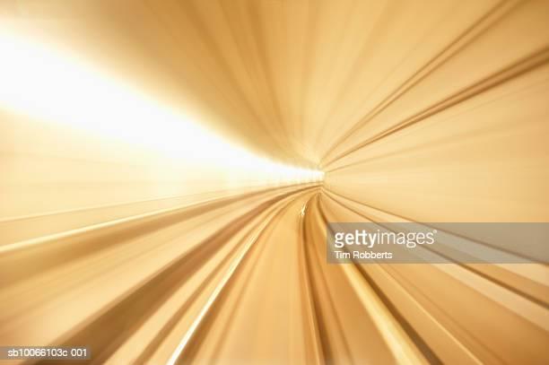 Denmark, Copenhagen, blurred view of underground metro tunnel