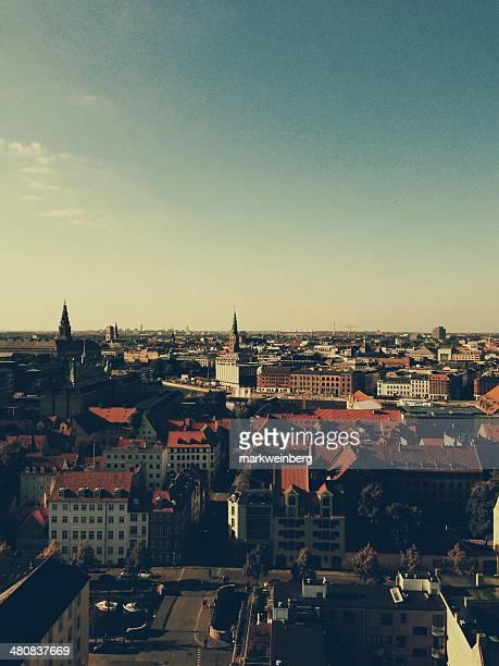 Denmark, Copenhagen, Skyline shot from Church of our Savior