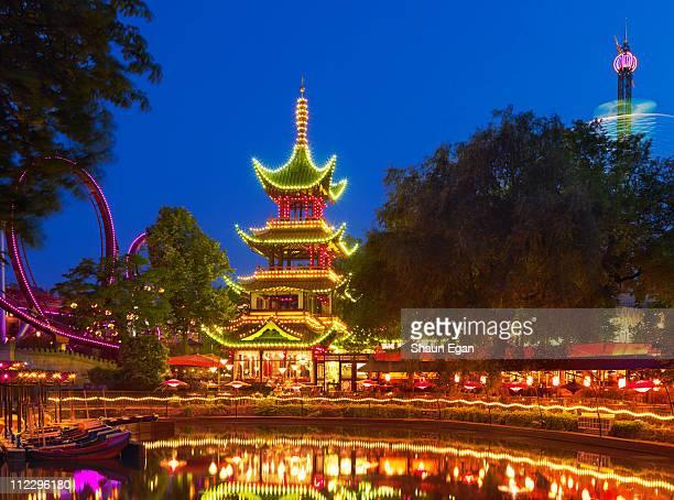 Denmark, Copenhagen, Tivoli Gardens, Pagoda
