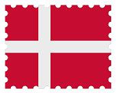 Denmark Flag Postage Stamp, 3d illustration on white background