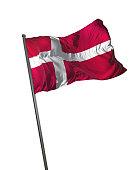 Denmark Flag Waving Isolated on White Background Portrait