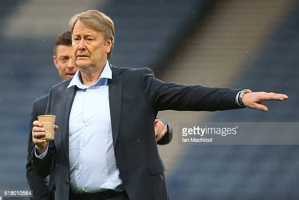 Denmark head coach Age Hareide gestures prior to the International Friendly match between Scotland and Denmark at Hampden Park on March 29 2016 in...