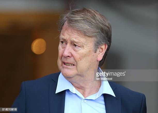 Denmark head coach Age Hareide looks on prior to the International Friendly match between Scotland and Denmark at Hampden Park on March 29 2016 in...