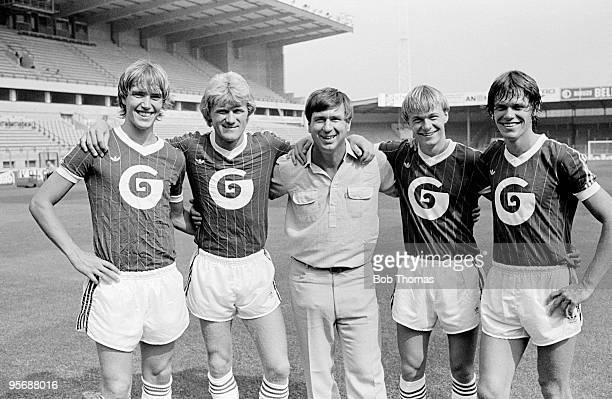 Denmark manager Sepp Piontek visiting his Danish International players left to right Kenneth Brylle Morten Olsen Per Frimann and Frank Arnesen at RSC...