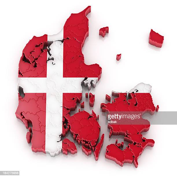 Denmark map with flag
