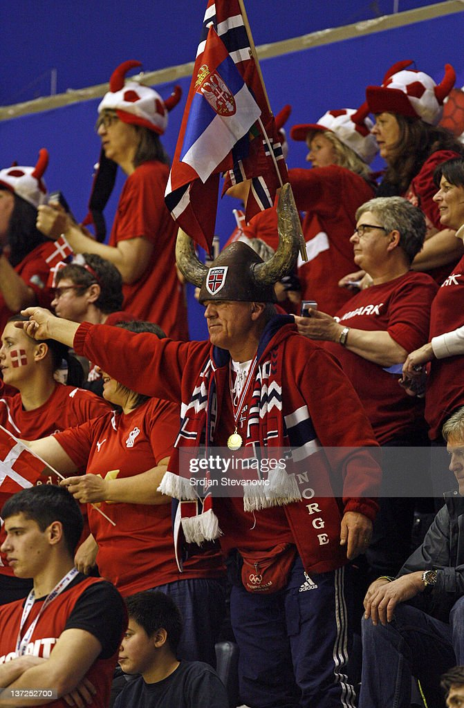Denmark national handball team supporters show their support during the Men's European Handball Championship 2012 group A match between Serbia and Denmark at Pionir Arena on January 17, 2011 in Belgrade, Serbia.
