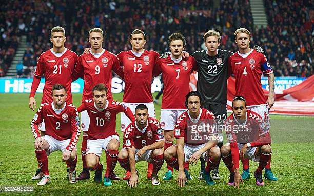 Denmark pose for a group picture prior to the FIFA 2018 World Cup Qualifier match between Denmark and Kazakhstan at Telia Parken Stadium on November...