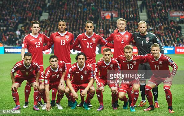 Denmark pose for a team picture prior to the FIFA World Cup 2018 european qualifier match between Denmark and Montenegro at Telia Parken Stadium on...