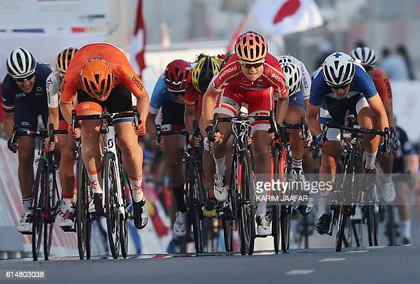 Denmark's Amalie Dideriksen sprints to win the women's elite road race event as part of the 2016 UCI Road World Championships on October 15 in the...