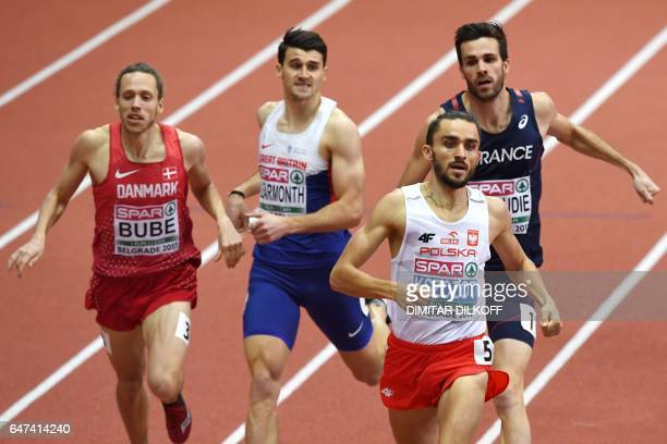 Denmark's Andreas Bube Great Britain's Guy Learmonth Poland's Adam Kszczot and France's Paul Renaudie compete in the men's 800m at the 2017 European...