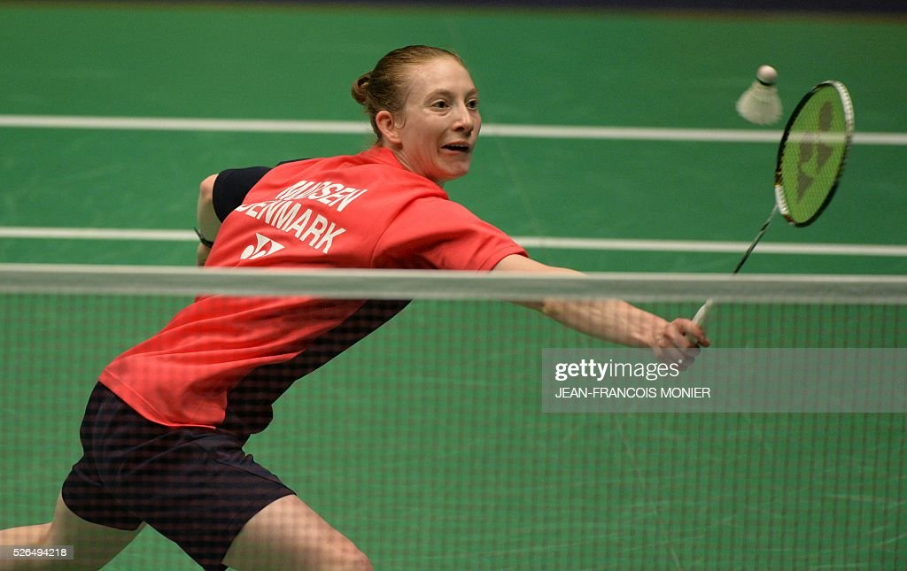 Denmark's Anna Thea Mansen hits a return to Scotland's Kirsty Gilmour during their women's simple semi-final match Denmark vs. England during the 2016 European badminton championships, on April 30, 2016 in Mouilleron-le-Captif, western France. / AFP / JEAN