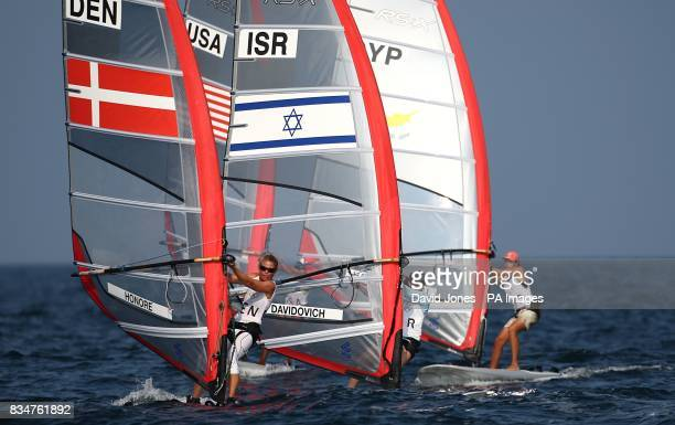 Denmark's Bettina Honore and Israel's Maayan Davidovich in action during the Women's RSX Opening Series at the 2008 Beijing Olympic Games' Sailing...